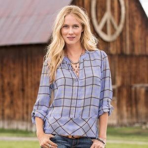 Sundance | Mondrian Purple Plaid Silk Blouse